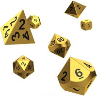 RPG METAL Dice Set Oakie Doakie Aurym Metall Terninger til rollespill - 7 stk