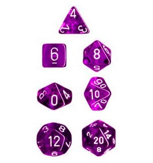 RPG Dice Set Lilla/Hvit - 7 stk Chessex 23077 Translucent Purple/White