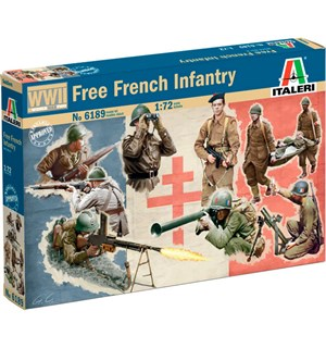 Free French Infantry - 49x Figurer Italeri 1:72 Byggesett