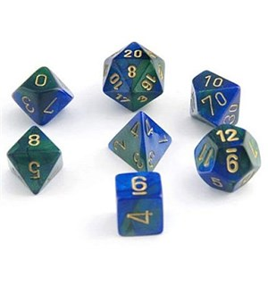 RPG Chessex Dice Set Blå-Grønn/Gull 7stk Chessex 26436 Gemini Blue-Green/Gold