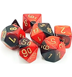 RPG Dice Set Svart-Rød/Gull - 7 stk Chessex 26433 Gemini Black-Red/Gold