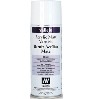 Vallejo Acrylic Matt Varnish 400ml Spray Klarlakk - Beskytt akrylmalte modeller
