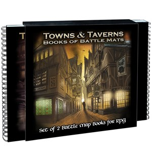 Book Of BattleMats TOWNS & TAVERNS Spiralinnbundet - 2,5 cm rutenett