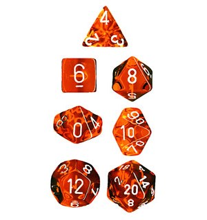 RPG Dice Set Oransje/Hvit - 7 stk Chessex 23073 Translucent Orange/White