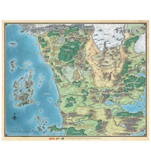 D&D Maps Faerun Realm & Sword Coast Dungeons & Dragons Vinyl Game Mat 68x83