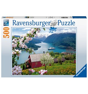 Norsk fjord Idyll 500 biter Puslespill Ravensburger Puzzle