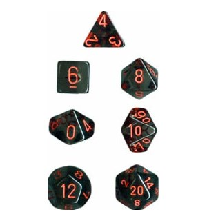 RPG Dice Set Røyk/Rød - 7 stk Chessex 23088 Translucent Smoke/Red