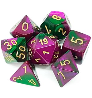 RPG Dice Set Grønn-Lilla/Gull - 7 stk Chessex 26434 Gemini Green-Purple/Gold