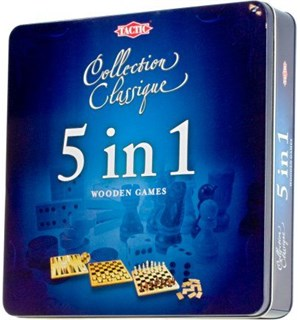 5 in 1 - 5 klassiske brettspill Sjakk/Backgammon/Domino/Dam/Tic Tac Toe