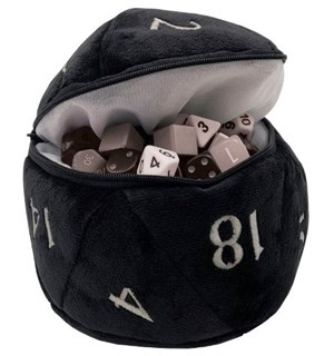 Dice Bag Terningspose D20 Plush- Svart Plass til 50 RPG terninger