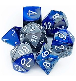 RPG Dice Set Blå-Stål/Hvit - 7 stk Chessex 26423 Gemini Blue-Steel/White