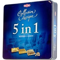 5 in 1-5 klassiske brettspill Metallboks Sjakk/Backgammon/Domino/Dam/Tic Tac Toe