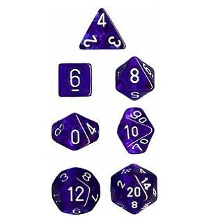 RPG Dice Set Blå/Hvit - 7 stk Chessex 23076 Translucent Blue/White