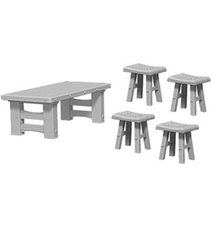 D&D Figur Deep Cuts Wooden Table & Stool