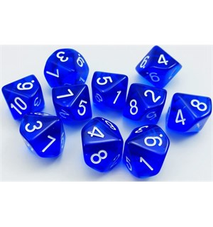 RPG Dice D10 Terning 0-9 10stk 16mm Blå Blå/Hvit