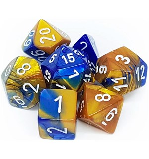 RPG Dice Set Blå-Gull/Hvit - 7 stk Chessex 26422 Gemini Blue-Gold/White