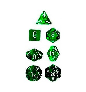 RPG Dice Set Grønn/Hvit - 7 stk Chessex 23075 Translucent Green/White