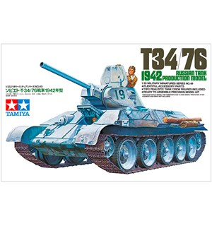Russian Tank T34/76 1942 Production Tamiya 1:35 Byggesett