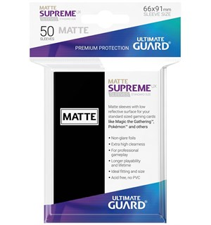 Sleeves Supreme Matte Sort x50 66x91 Ultimate Guard Kortbeskytter/DeckProtect