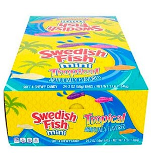 Swedish Fish Mini Tropical - 12 stk Hel kartong med Swedish Fish Mini